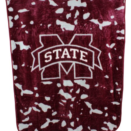 "College Covers Fan Shop Throws Mississippi State Bulldogs 63"" x 86"" Soft Raschel Throw Blanket"