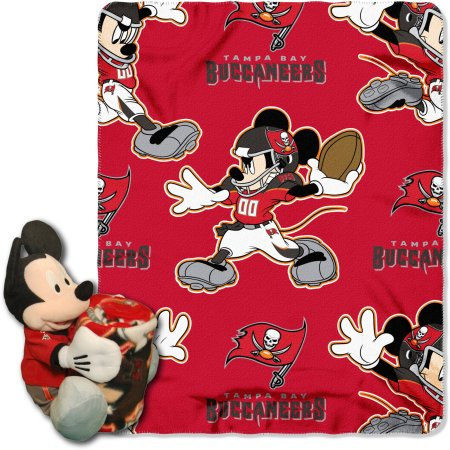 "Official NFL and Disney Cobrand Tampa Bay Buccaneers Mickey Mouse Hugger Character Shaped Pillow and 40""x 50"" Fleece Throw Set"