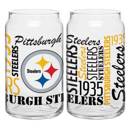 Boelter Brands NFL Set of Two 16 Ounce Spirit Glass Can Set, Pittsburgh Steelers