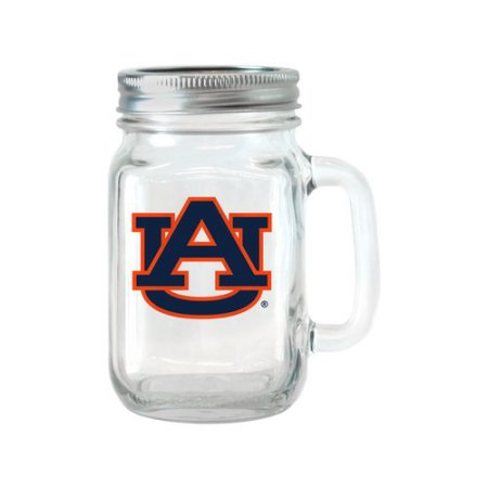 NCAA 16 oz Auburn Tigers Glass Jar with Lid and Handle, 2pk