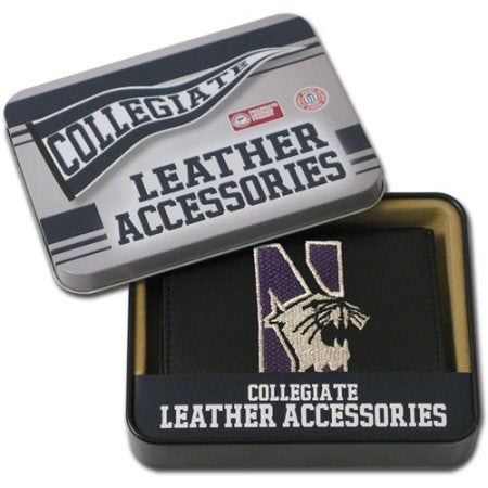 NCAA Men's Northwestern Wildcats Embroidered Trifold Wallet