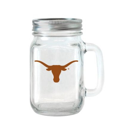 NCAA 16 oz Texas Longhorns Glass Jar with Lid and Handle, 2pk