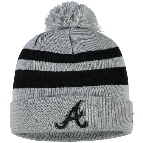Atlanta Braves New Era Rebound Cuffed Knit Hat with Pom - Gray/Black