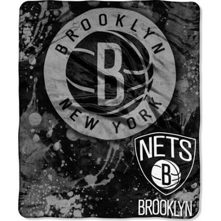 "NBA Dropdown 50"" x 60"" Royal Plush Raschel Throw, Brooklyn Nets"