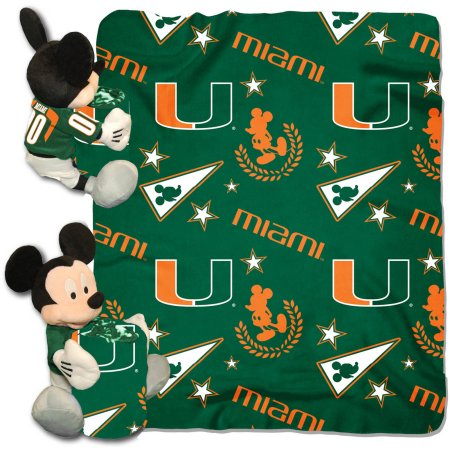 "Official NCAA and Disney Cobrand Miami Hurricanes Mickey Mouse Hugger Character Shaped Pillow and 40""x 50"" Fleece Throw Set"
