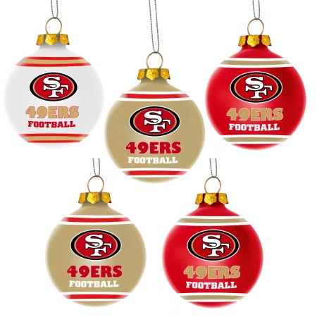 Forever Collectibles NFL 5-Pack Shatterproof Ball Ornaments - San Francisco 49Ers