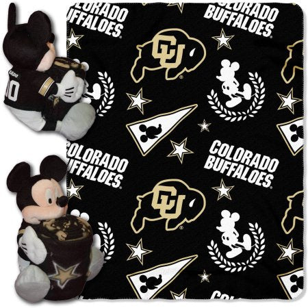 "Official NCAA and Disney Cobrand Colorado Buffaloes Mickey Mouse Hugger Character Shaped Pillow and 40""x 50"" Fleece Throw Set"