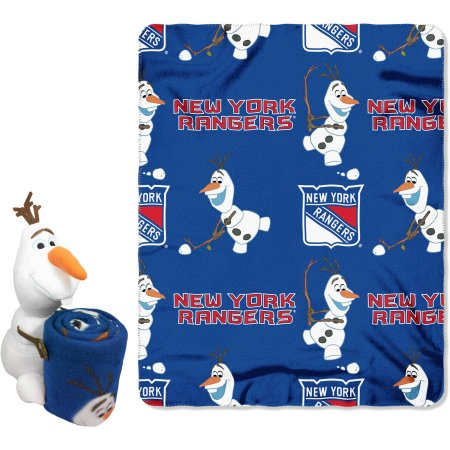 "Official NHL and Disney Cobrand New York Rangers Olaf Hugger Character Shaped Pillow and 40""x 50"" Fleece Throw Set"
