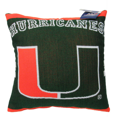"NCAA Miami Hurricanes 20"" Square Decorative Woven Pillow"