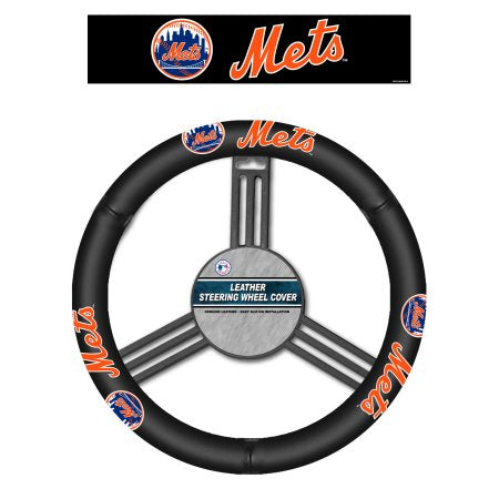 MLB New York Mets Leather Steering Wheel Cover