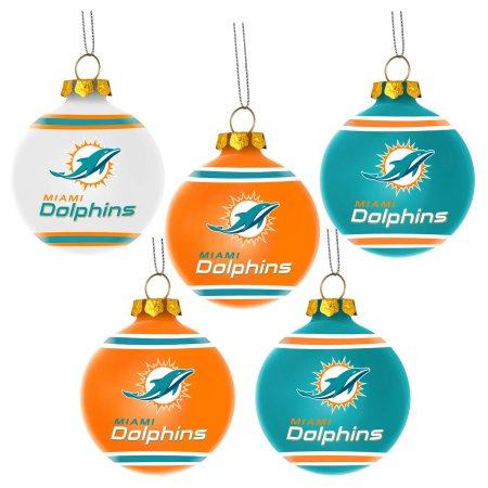 Forever Collectibles NFL 5-Pack Shatterproof Ball Ornaments - Miami Dolphins