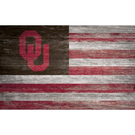 NCAA Oklahoma Sooners 11'' x 19'' Distressed Flag Sign