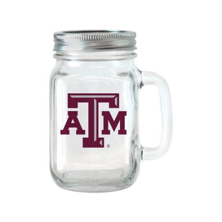 NCAA 16 oz Texas A&M Aggies Glass Jar with Lid and Handle, 2pk