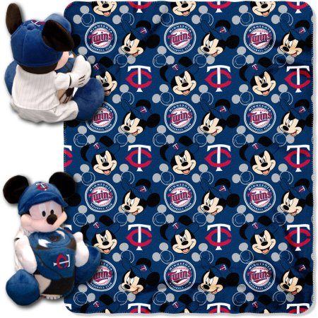"Official MLB and Disney Cobrand Minnesota Twins ""Pitch Crazy"" Mickey Mouse Hugger Character Shaped Pillow and 40""x 50"" Fleece Throw Set"