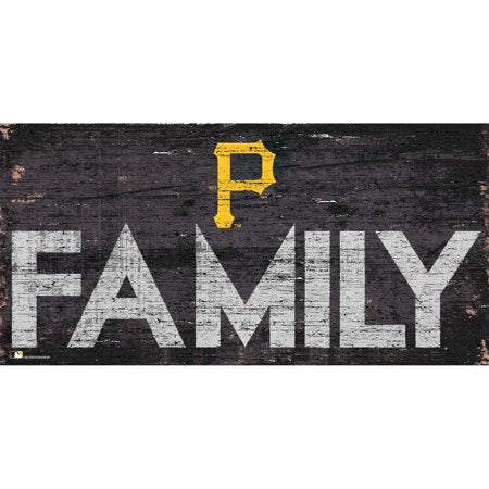 MLB Pittsburgh Pirates 6'' x 12'' Distressed Wood Family Sign