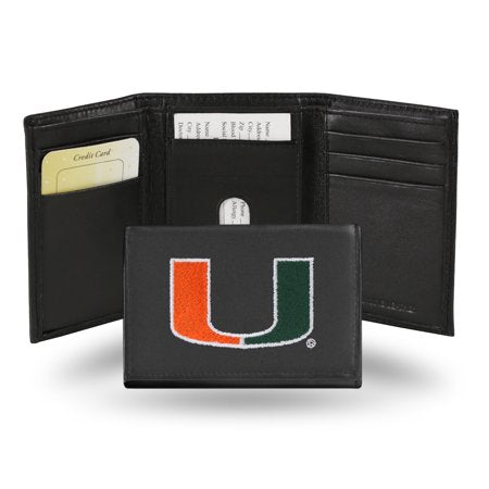 NCAA Men's Miami Hurricanes Embroidered Trifold Wallet