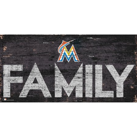 MLB Miami Marlins 6'' x 12'' Distressed Wood Family Sign