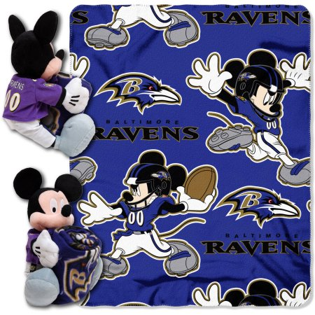 "Disney NFL Baltimore Ravens Hugger Pillow and 40"" x 50"" Throw Set"