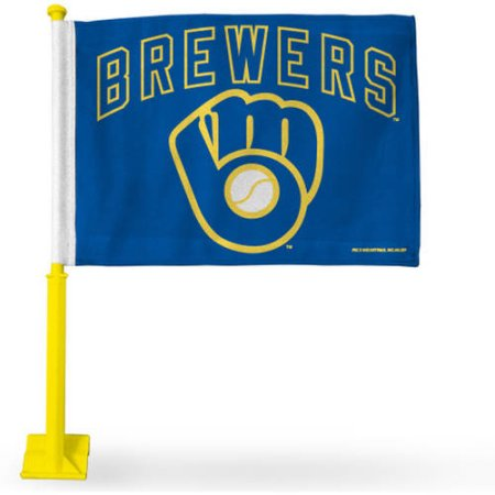MLB Brewers Car Flag With Colored Pole - Yellow Pole