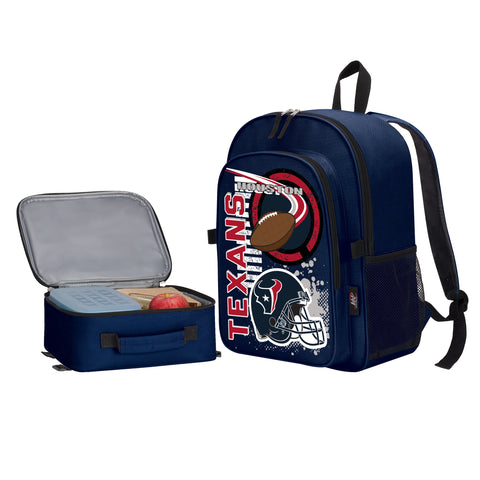 "NFL Houston Texans ""Accelerator"" Backpack and Lunch Bag / Box Set"