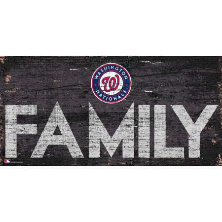MLB Washington Nationals 6'' x 12'' Distressed Wood Family Sign