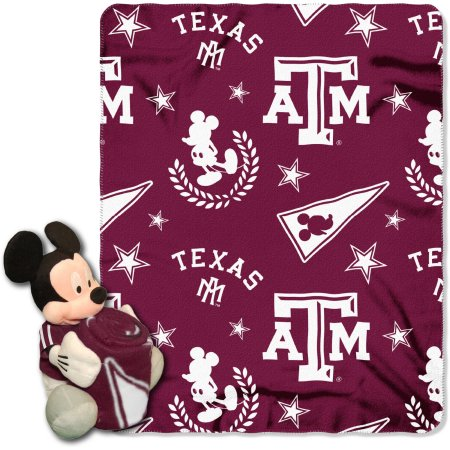 "Official NCAA and Disney Cobrand Texas A Aggies Mickey Mouse Hugger Character Shaped Pillow and 40""x 50"" Fleece Throw Set"