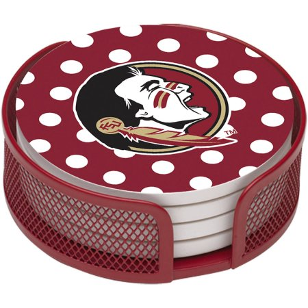 NCAA Florida State University Stoneware Drink Coaster Set with Holder Included