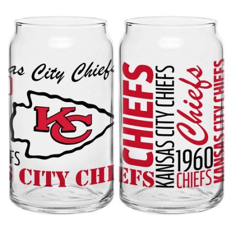 Boelter Brands NFL Set of Two 16 Ounce Spirit Glass Can Set, Kansas City Chiefs