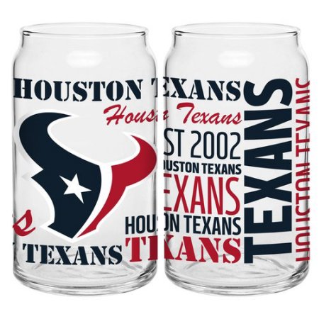Boelter Brands NFL Set of Two 16 Ounce Spirit Glass Can Set, Houston Texans
