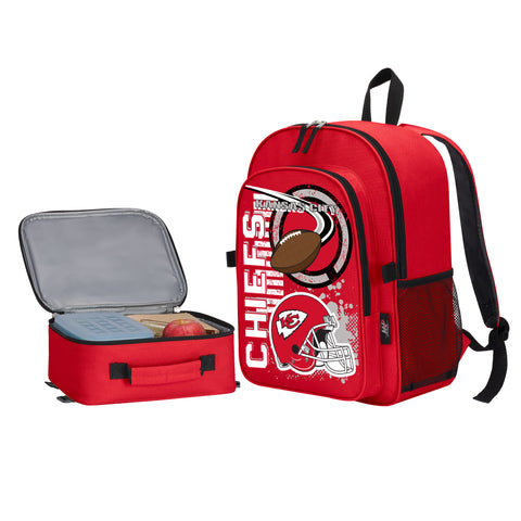 "NFL Kansas City Chiefs ""Accelerator"" Backpack and Lunch Bag / Box Set"