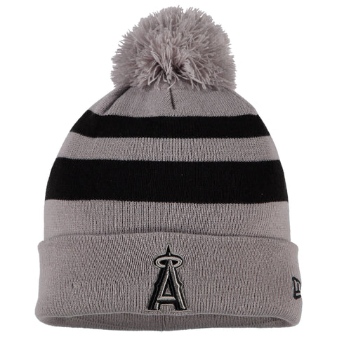 Los Angeles Angels New Era Rebound Cuffed Knit Hat with Pom - Gray/Black