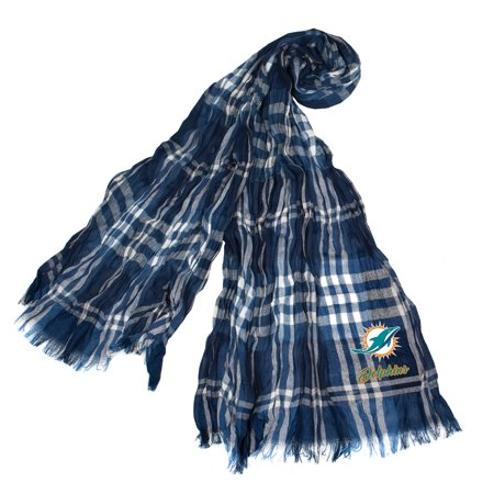 Little Earth - NFL Crinkle Plaid Scarf, Miami Dolphins