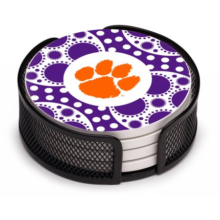 NCAA Clemson Tigers Circles Stoneware Drink Coaster Set with Holder Included