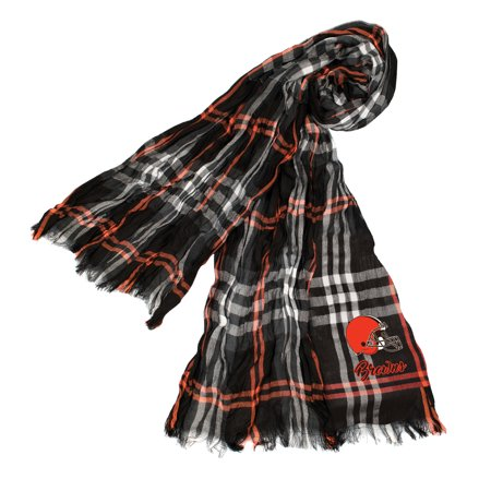Little Earth - NFL Crinkle Plaid Scarf, Cleveland Browns