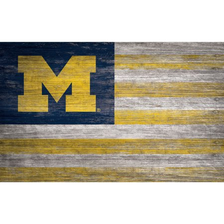NCAA Michigan Wolverines 11'' x 19'' Distressed Flag Sign