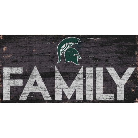 NCAA Michigan State Spartans 6'' x 12'' Distressed Wood Family Sign