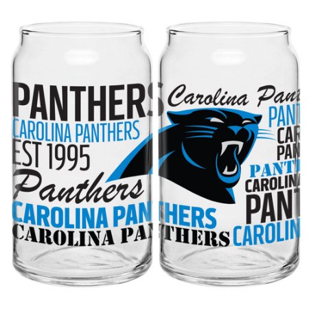 Boelter Brands NFL Set of Two 16 Ounce Spirit Glass Can Set, Carolina Panthers