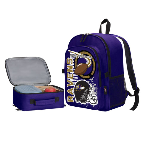 "NFL Baltimore Ravens ""Accelerator"" Backpack and Lunch Bag / Box Set"