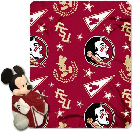 "Official NCAA and Disney Cobrand Florida State Seminoles Mickey Mouse Hugger Character Shaped Pillow and 40""x 50"" Fleece Throw Set"