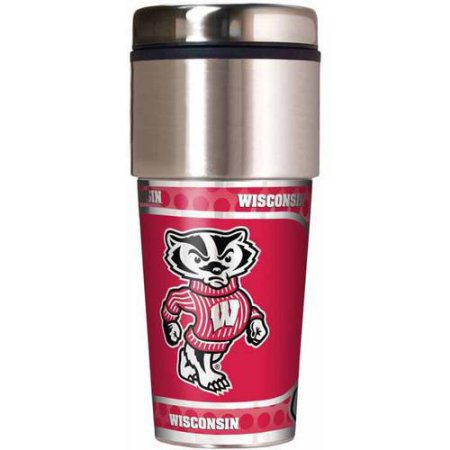 NCAA Wisconsin Badgers 16 oz Travel Tumbler with Metallic Wrap