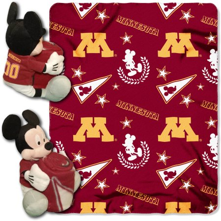 "Official NCAA and Disney Cobrand Minnesota Gophers Mickey Mouse Hugger Character Shaped Pillow and 40""x 50"" Fleece Throw Set"