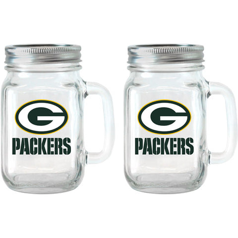 NFL 16 oz Green Bay Packers Glass Jar with Lid and Handle, 2pk