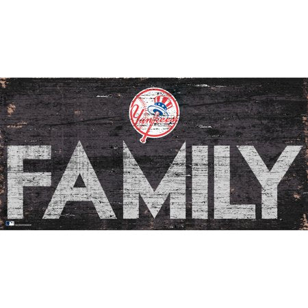 MLB New York Yankees 6'' x 12'' Distressed Wood Family Sign