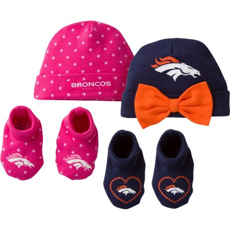 NFL Denver Broncos Baby Girl Cap and Bootie Accessories Set, 4-Pieces
