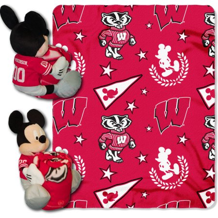 "Official NCAA and Disney Cobrand Wisconsin Badgers Mickey Mouse Hugger Character Shaped Pillow and 40""x 50"" Fleece Throw Set"