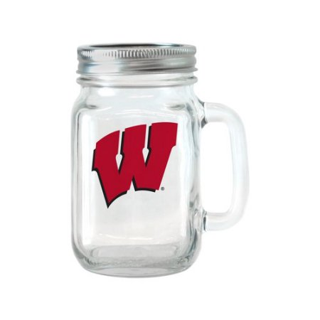NCAA 16 oz Wisconsin Badgers Glass Jar with Lid and Handle, 2pk