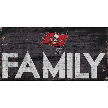 NFL Tampa Bay Buccaneers 6'' x 12'' Distressed Wood Family Sign