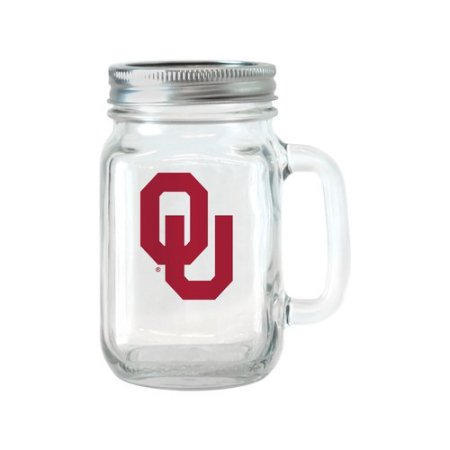 NCAA 16 oz Oklahoma Sooners Glass Jar with Lid and Handle, 2pk