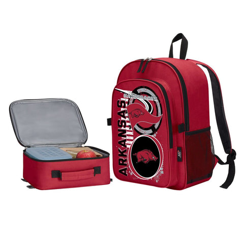"Arkansas Razorbacks ""Accelerator"" Backpack and Lunch Bag / Box Set"