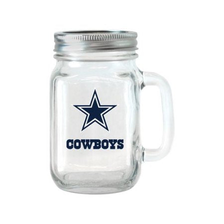 NFL 16 oz Dallas Cowboys Glass Jar with Lid and Handle, 2pk